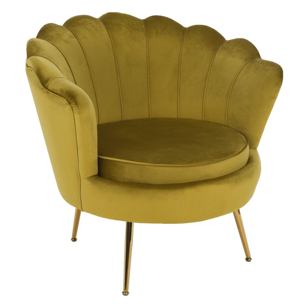 Fotel Art-deco stílusban, mustár színű Velvet anyag/gold chróm-arany, NOBLIN