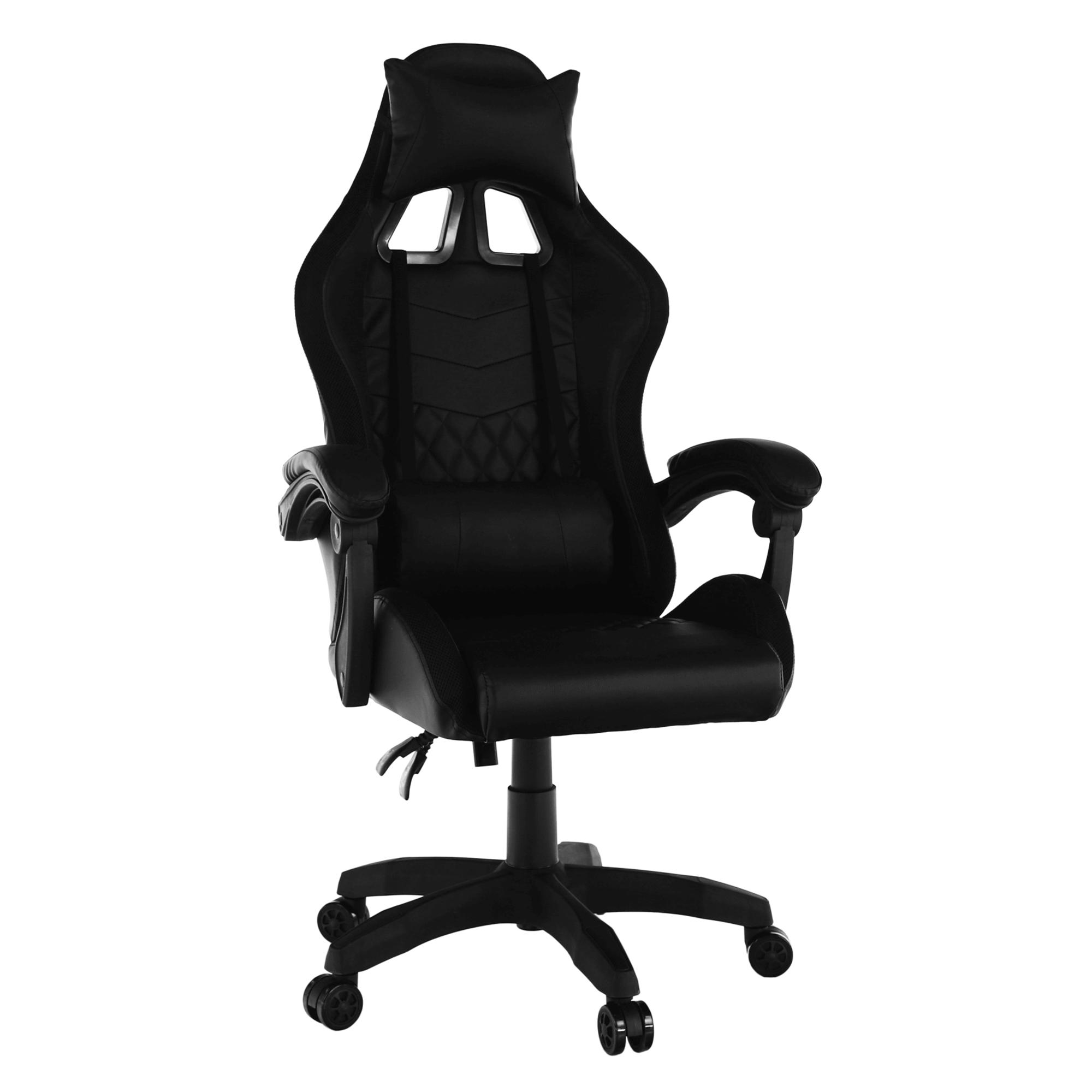 Scaun de birou / joc cu iluminare LED RGB, negru, MAFIRO