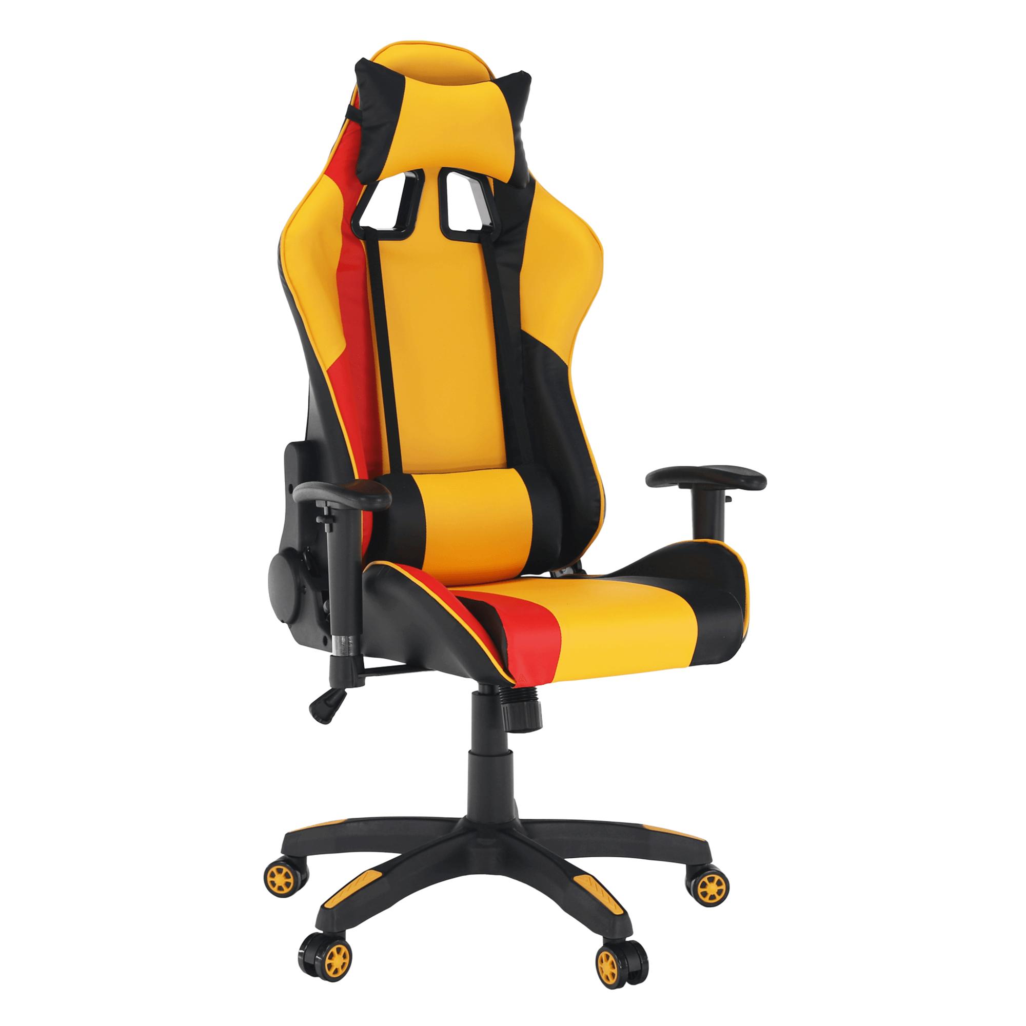 Fotoliu birou/gaming, galben/negru/portocaliu, SOLERO