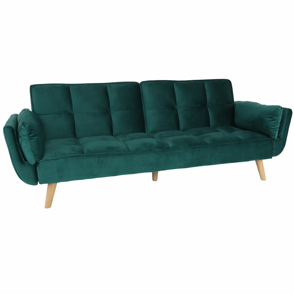 Kinyitható kanapé, smaragd bársony/bükk, KAPRERA NEW