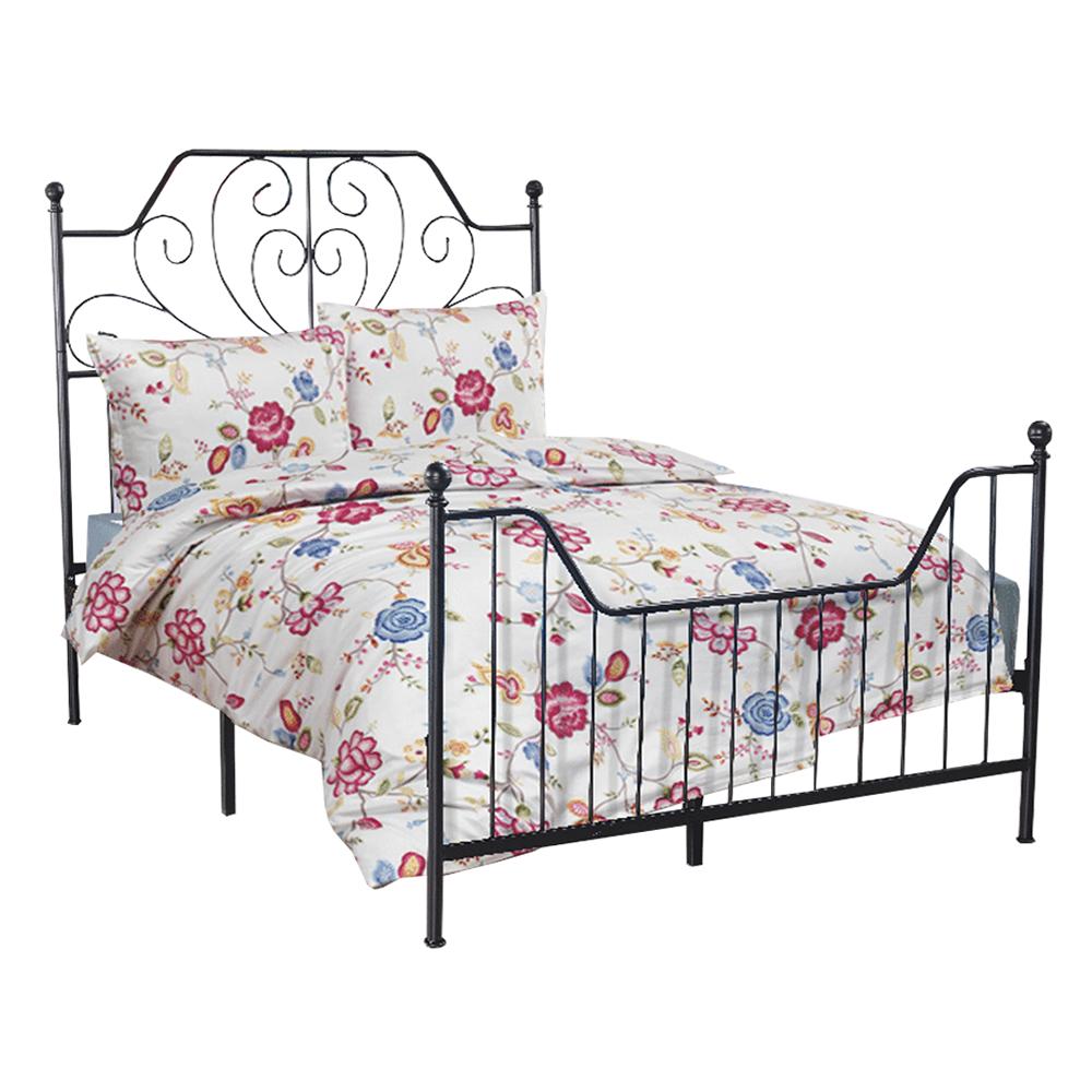 Kovová posteľ s roštom, čierna, 140x200, RAJANA