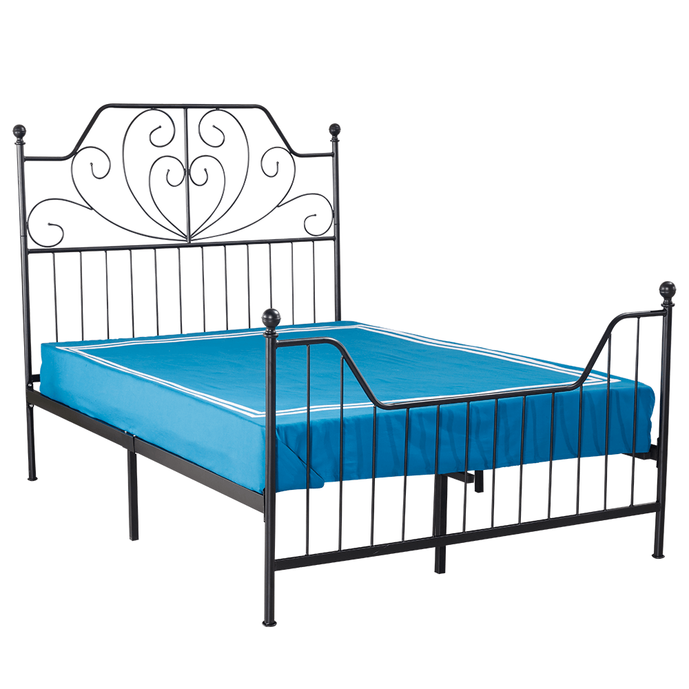 Kovová postel s roštem, černá, 140x200, RAJANA