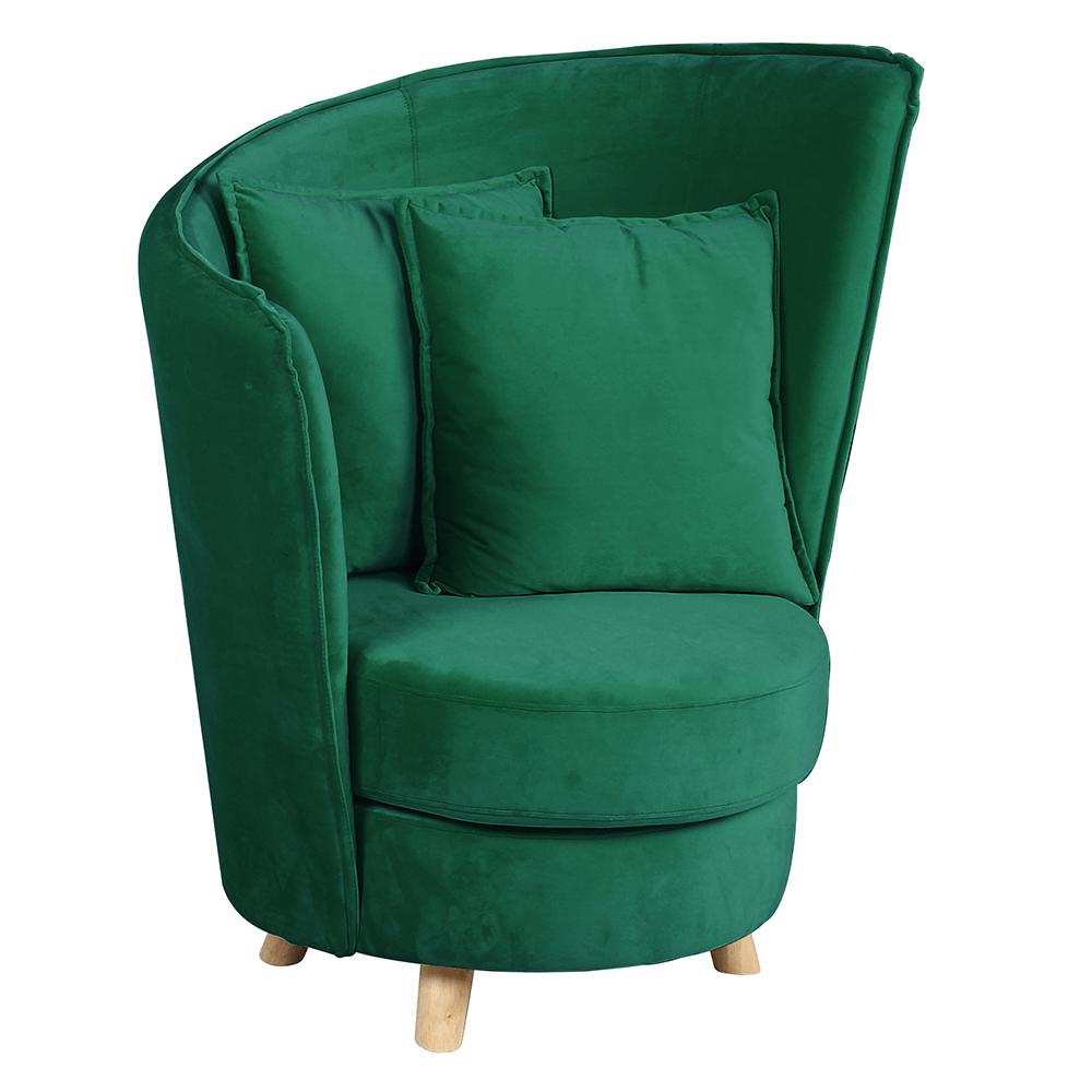 Fotel Art Deco stílusban, smaragd színű Velvet anyag/tölgy, ROUND