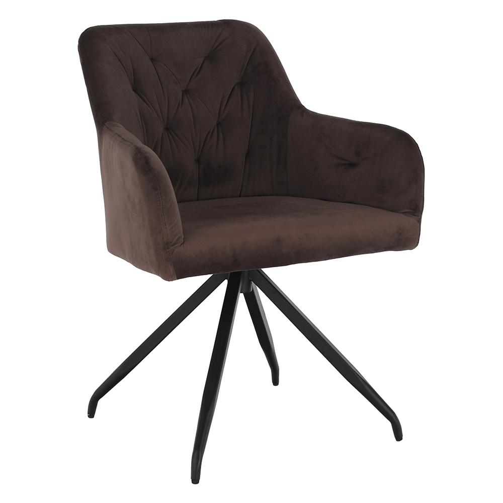 Otočná stolička, hnedá Velvet látka/čierna, VELEZA