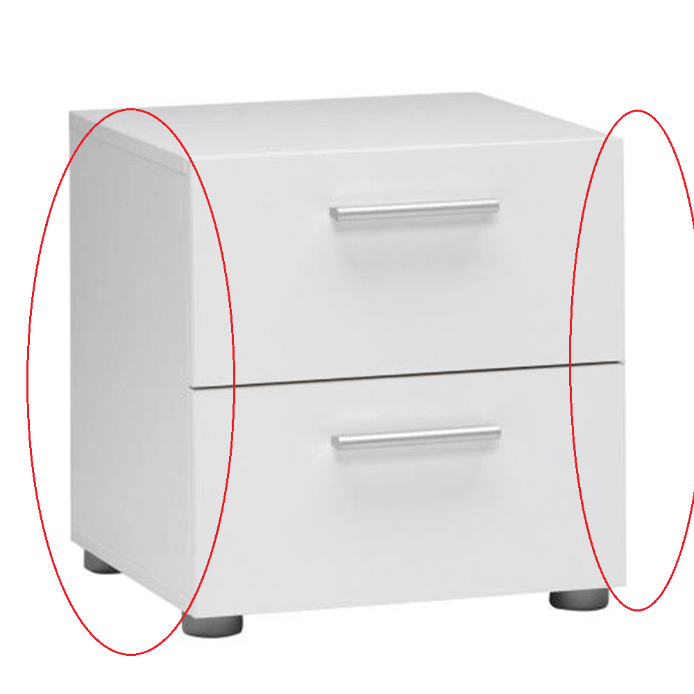 Nočný stolík, biely, PEPE 70070, poškodený tovar