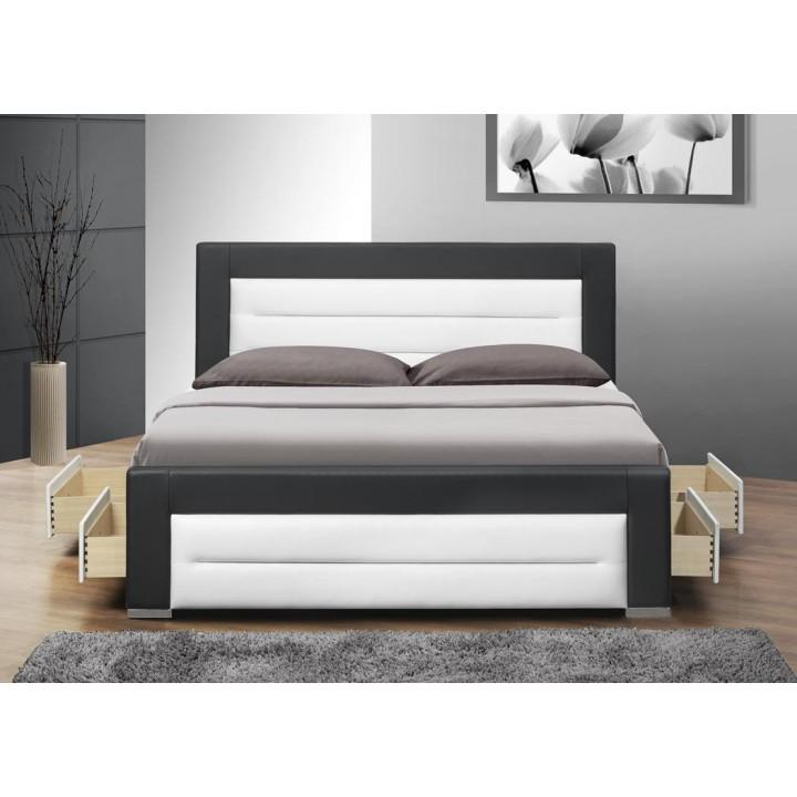 Franciaágy ágyráccsal és fiókokkal, fekete textilbőr / fehér,  160x200, NAZUKA