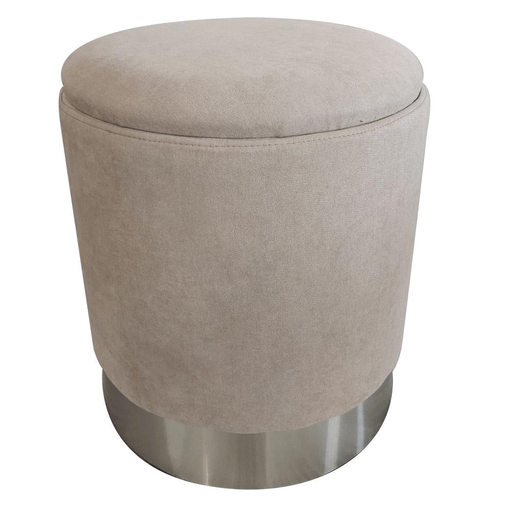 Puff, barna-szürke TAUPE anyag/ezüst króm, DARON