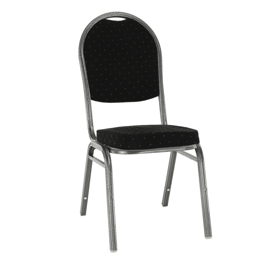 Stolička, stohovateľná, látka čierna /sivý rám, JEFF 3 NEW