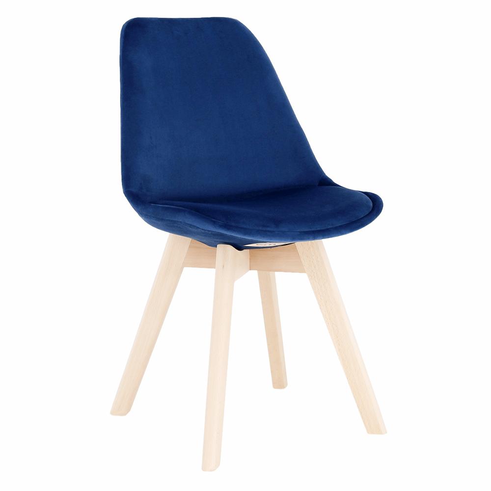Stolička, modrá Velvet látka/buk, LORITA