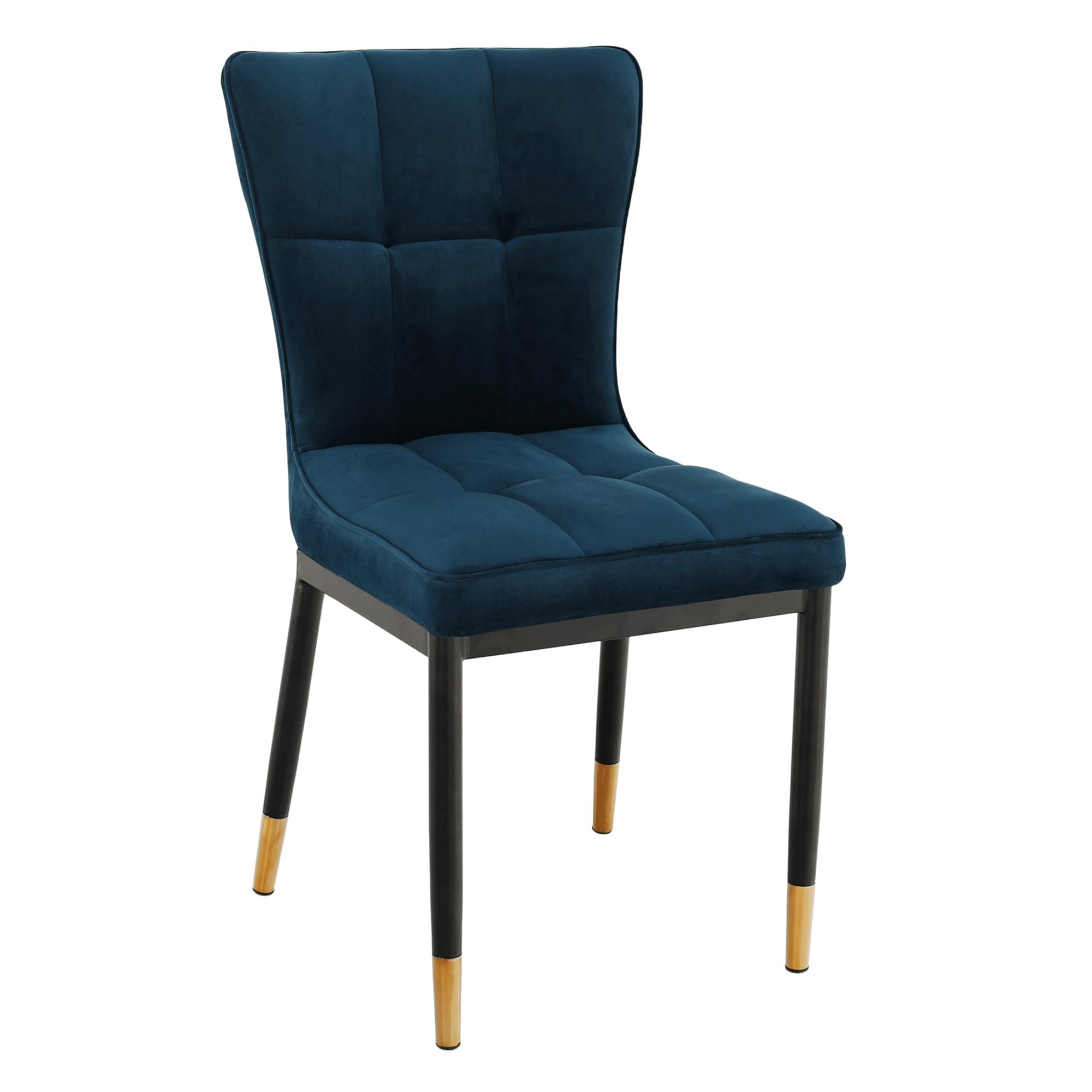 Dizajnová jedálenská stolička, petrolejová Velvet látka, EPONA