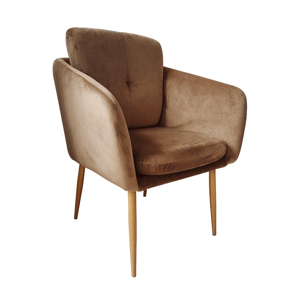Dizájner fotel, barna Velvet szövet, AVETA