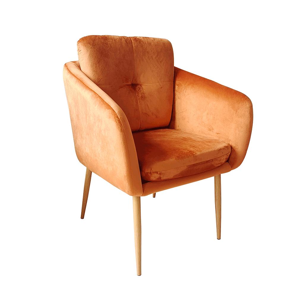 Dizájner fotel, terrakotta Velvet szövet, AVETA