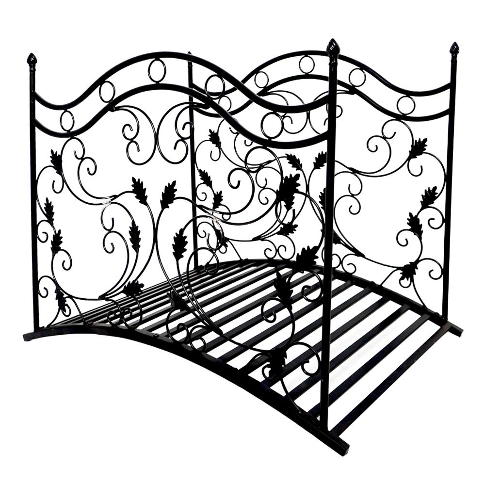 Dekoratív kerti híd, fekete fém, RENAL