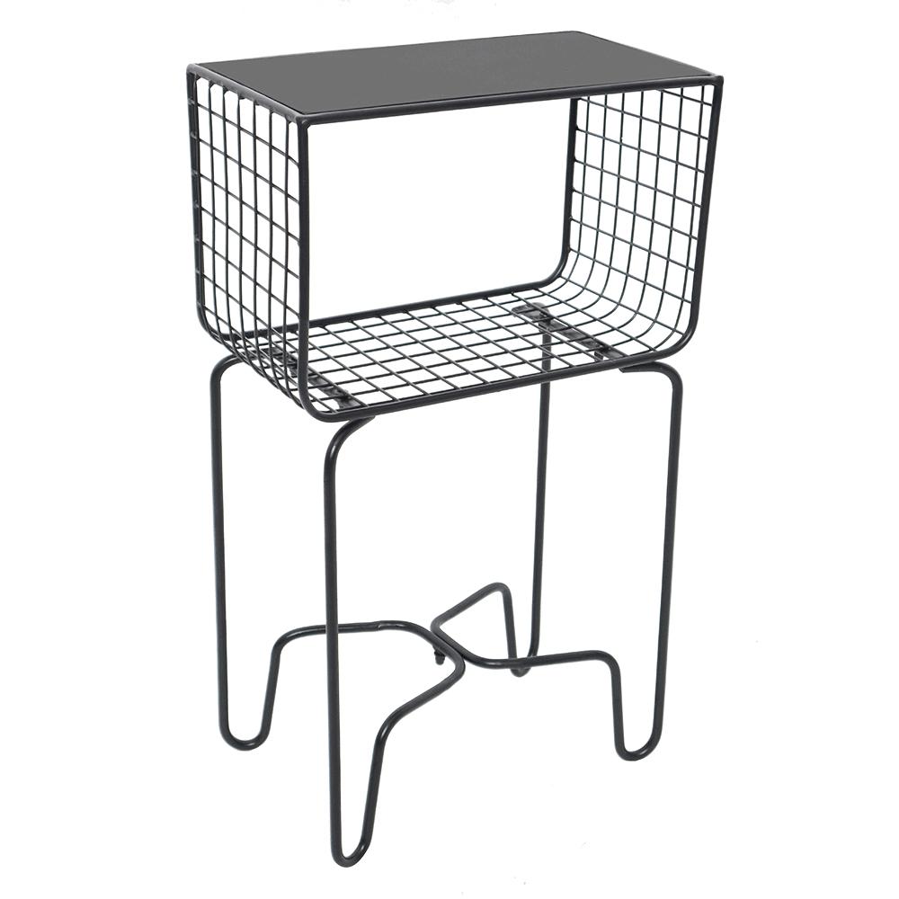 Kovový odkladací stolík, čierna, LONIO