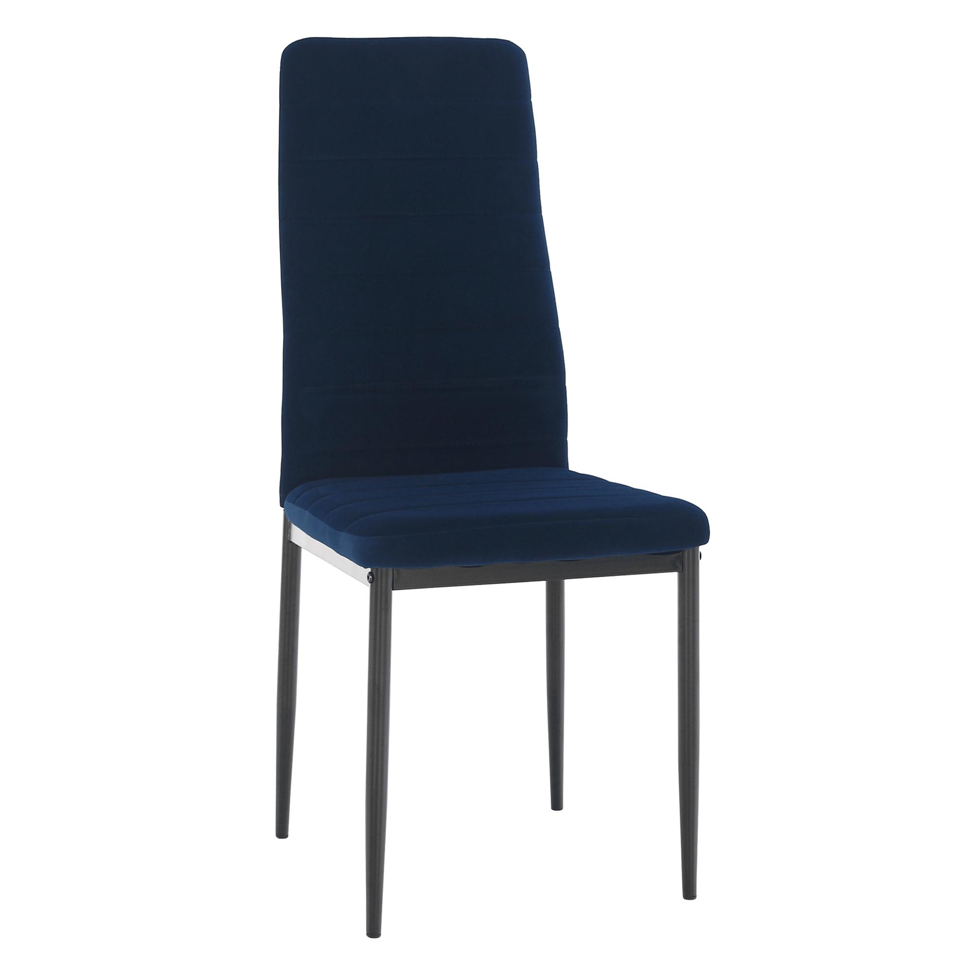 Scaun, țesătură albastră din catifea / metal negru, Coleta Nova