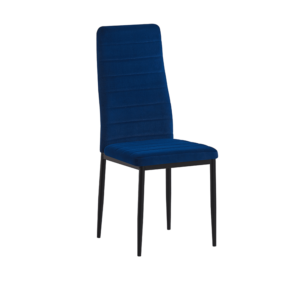 Scaun, textil velvet albastru/metal negru, COLETA NOVA