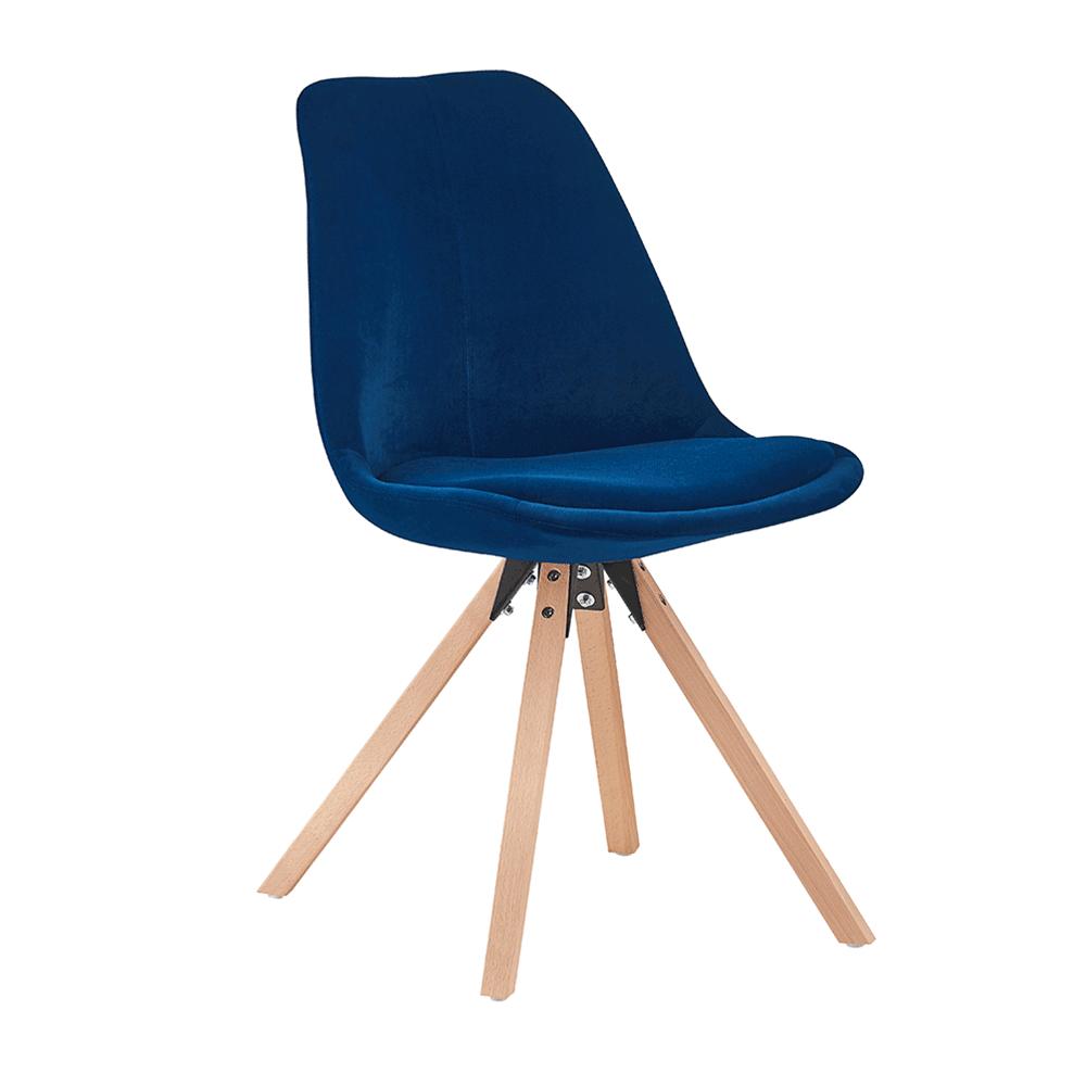 Scaun, material textil albastru Velvet/lemn fag, SABRA