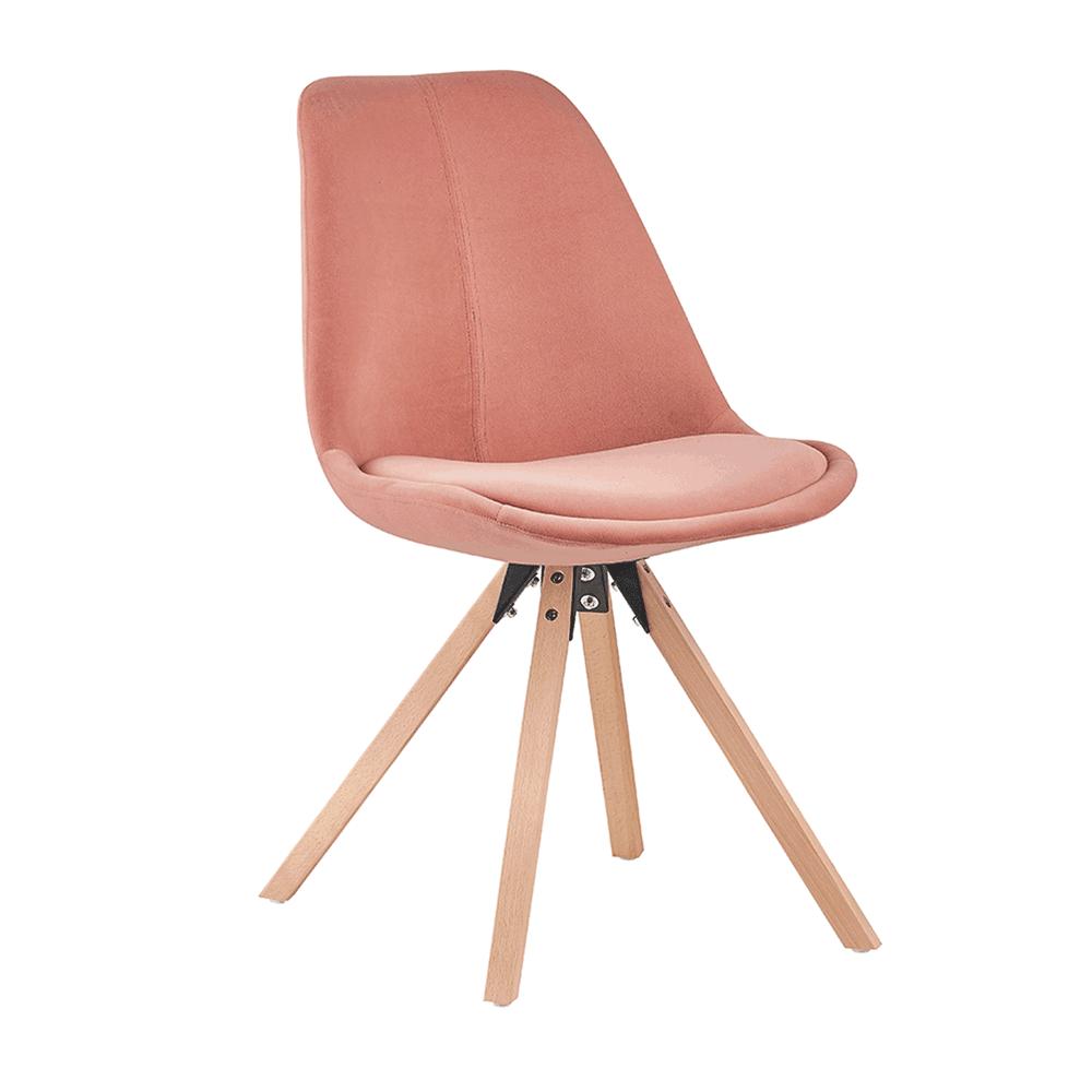 Scaun, material textil roz Velvet/lemn fag, SABRA