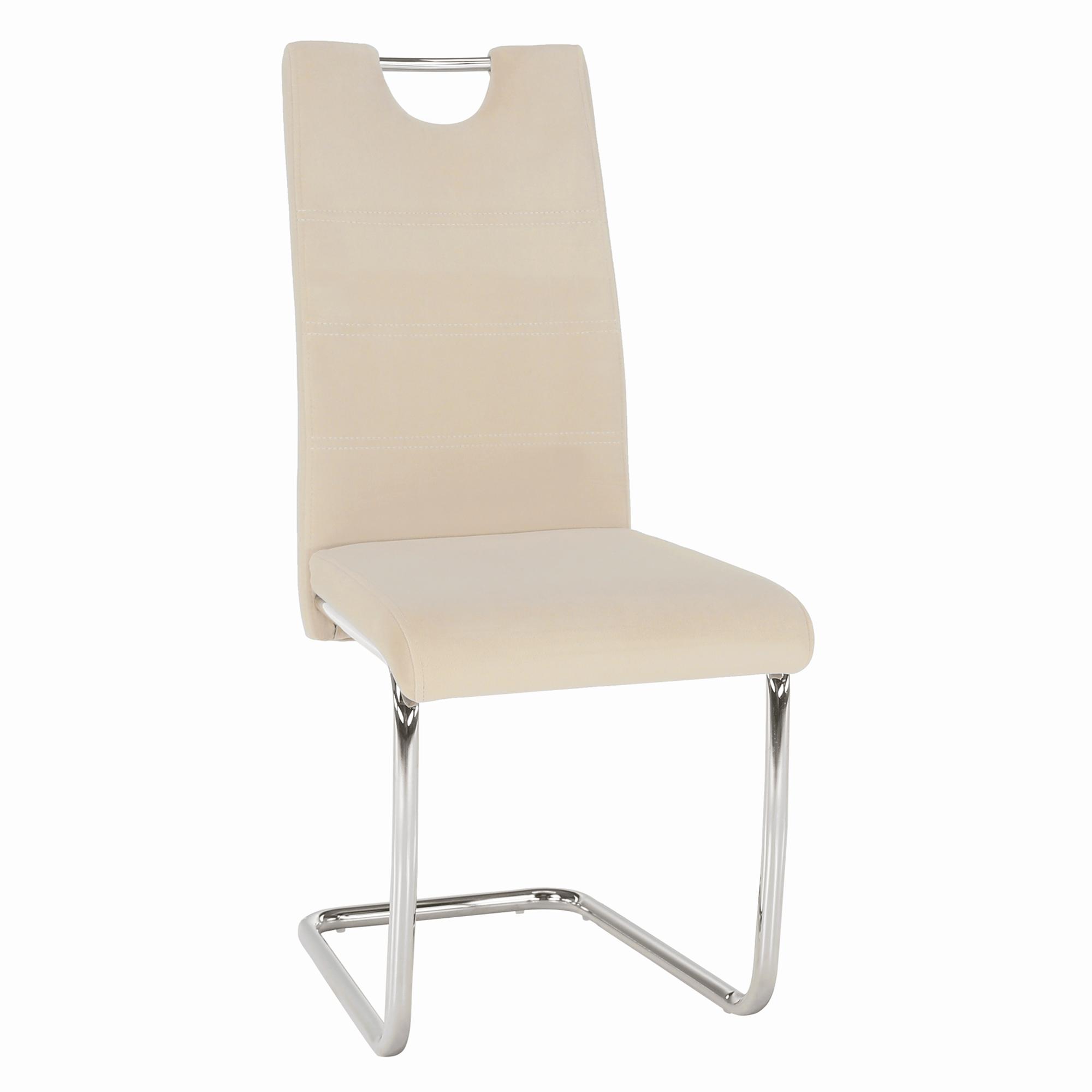 Jedálenská stolička, béžová Dulux Velvet látka/svetlé šitie, ABIRA NEW