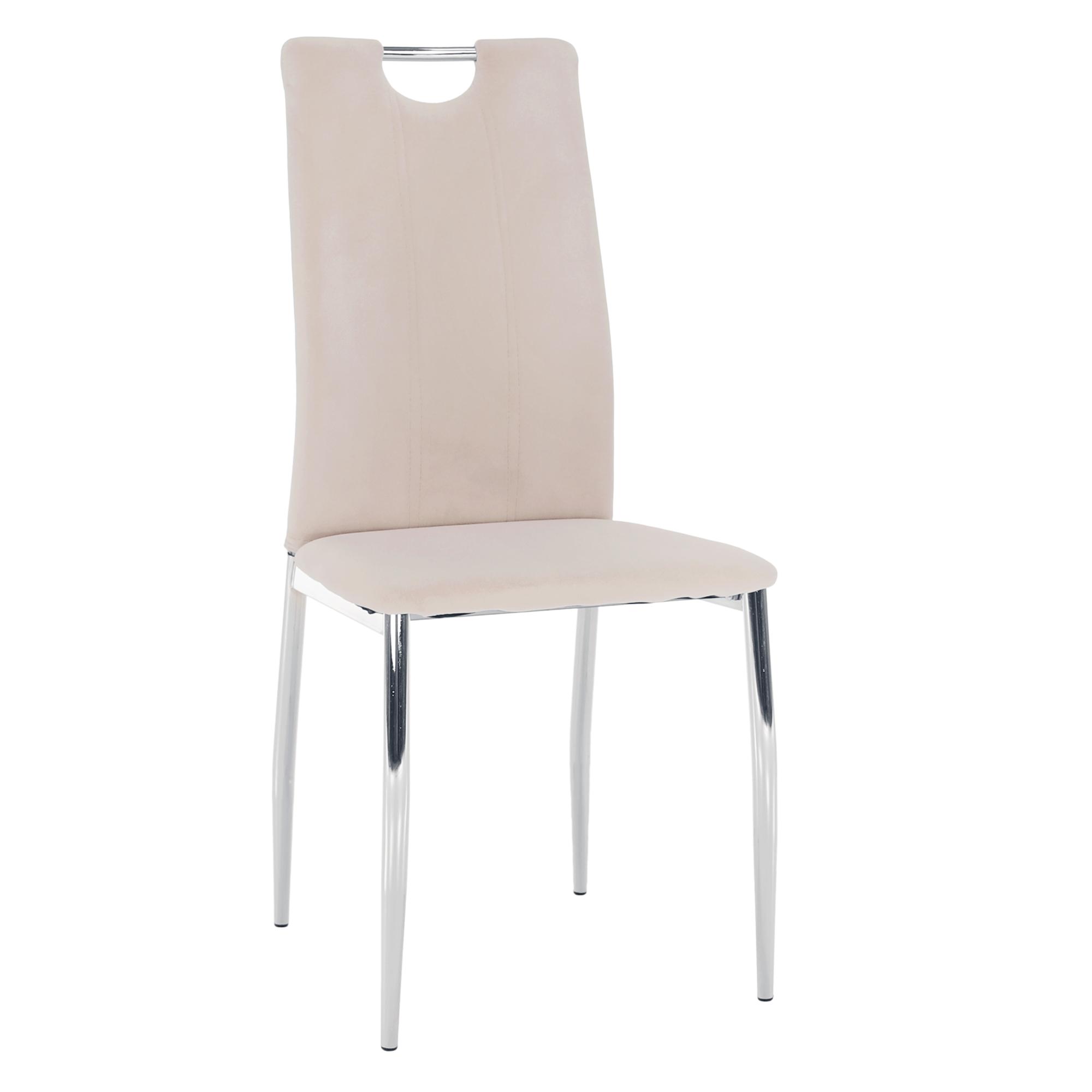 Jedálenská stolička, béžová Dulux Velvet látka/chróm, OLIVA NEW