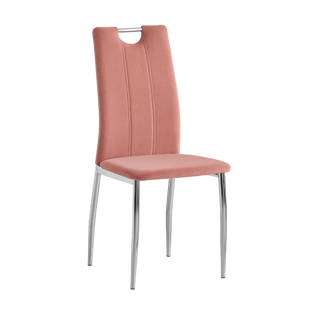 Scaun bucătărie, Velvet textil roz /crom, OLIVA NEW