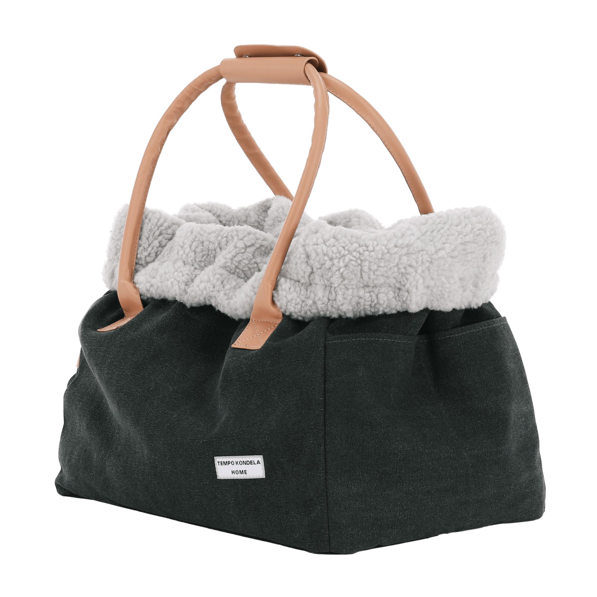 Kutyahordozó táska, kicsi, szürke/bézs, 40x26x30cm, MANIK TYP4