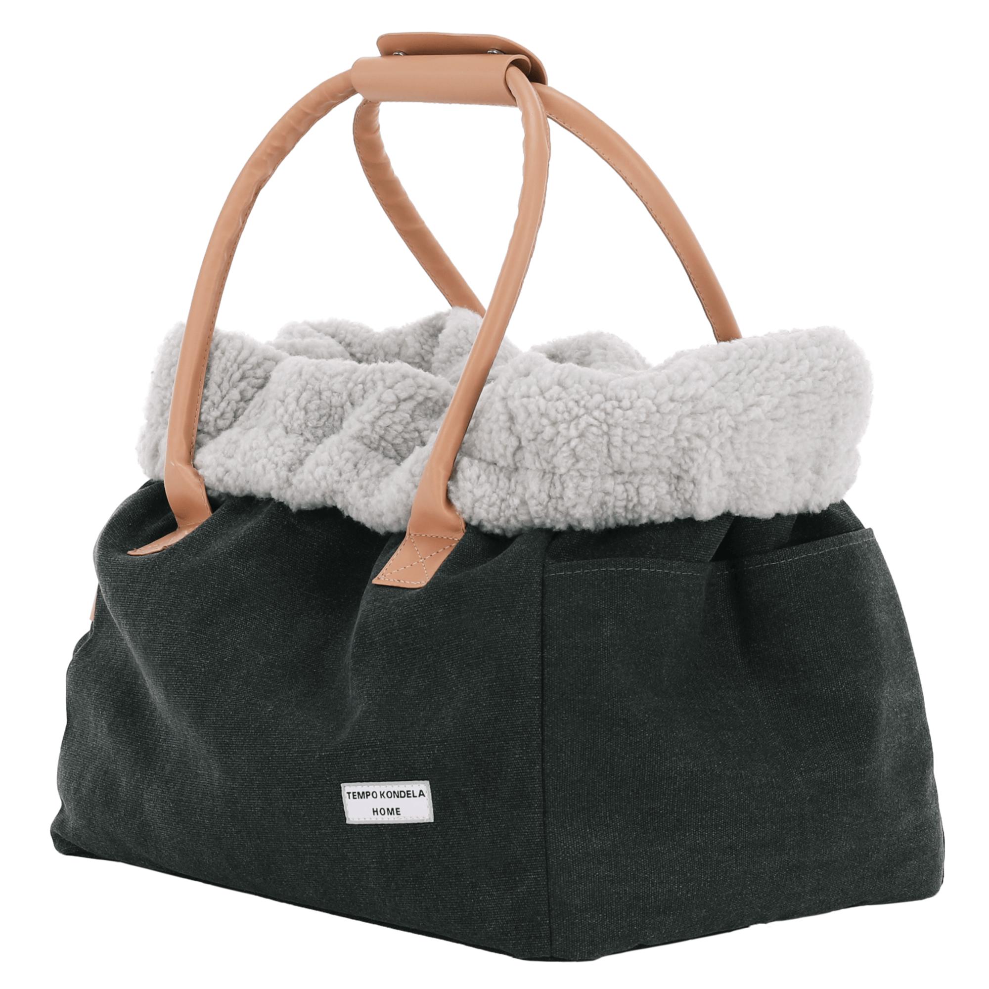 Kutyahordozó táska, nagy, szürke/bézs, 46x27x33cm, MANIK TYP4