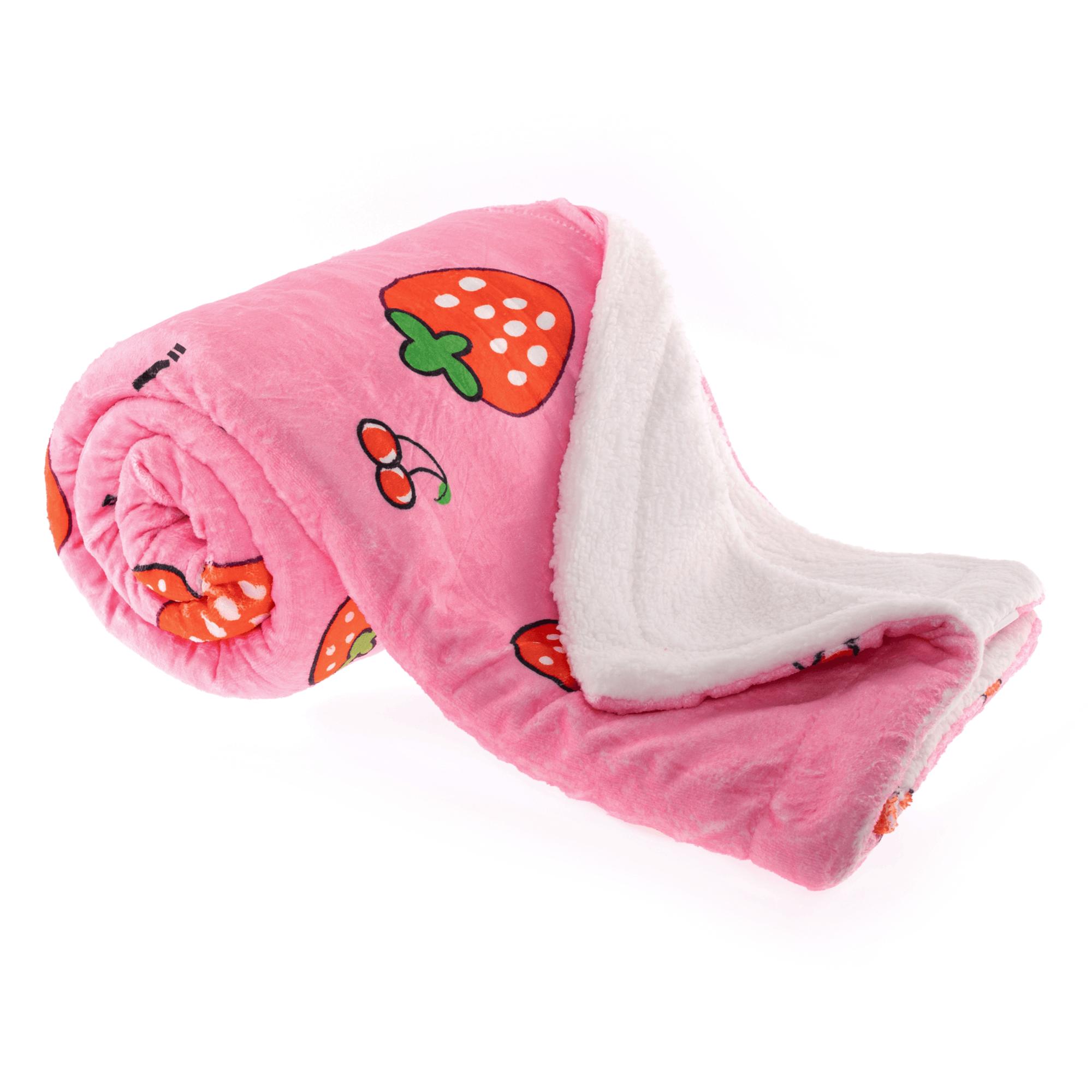 Pătură moale față-verso, model roz / căpșuni, 150x200cm, MIDAS TYPE 1