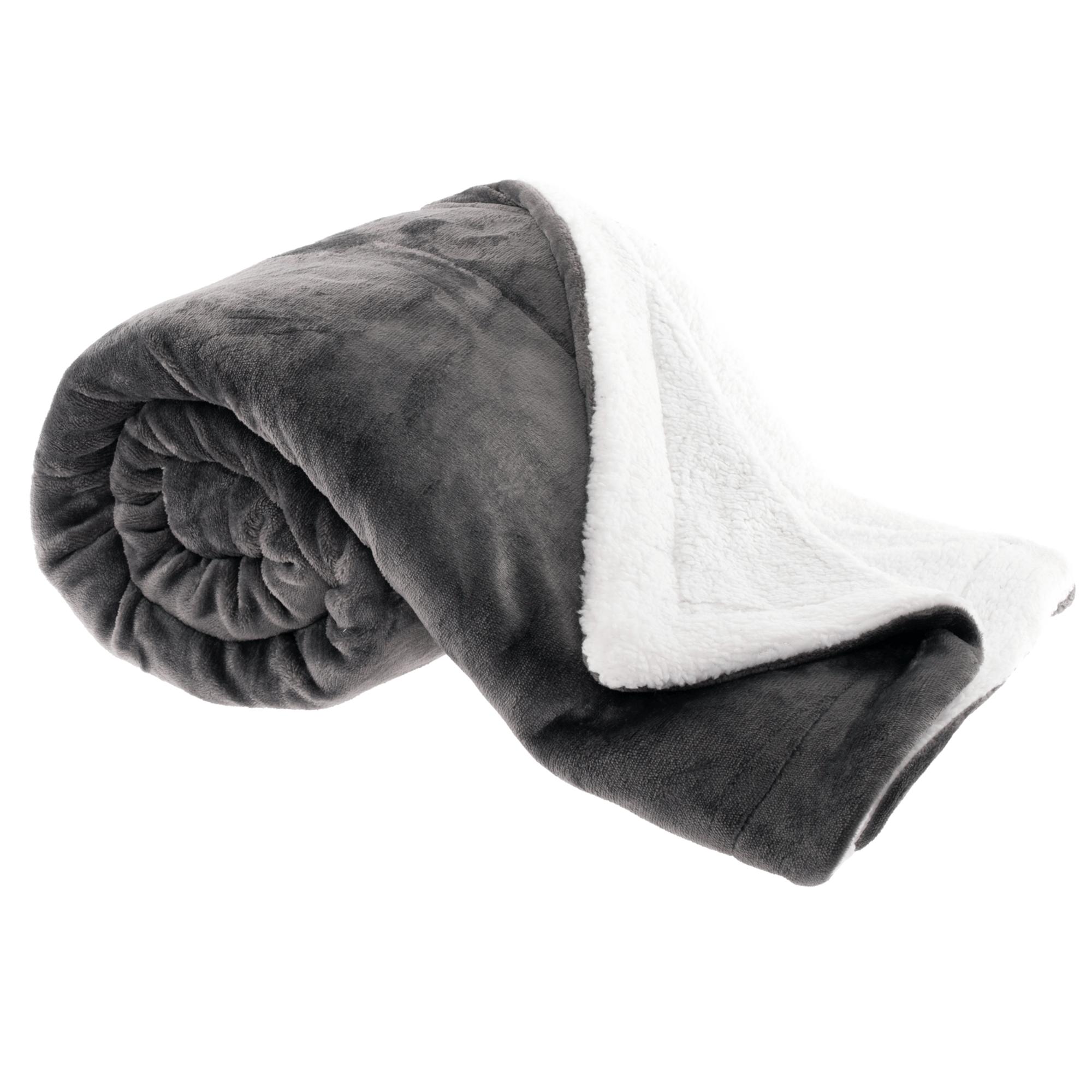 Kétoldalas bárány takaró, szürkésbarna taupe/fehér, 150x200cm, ABELE