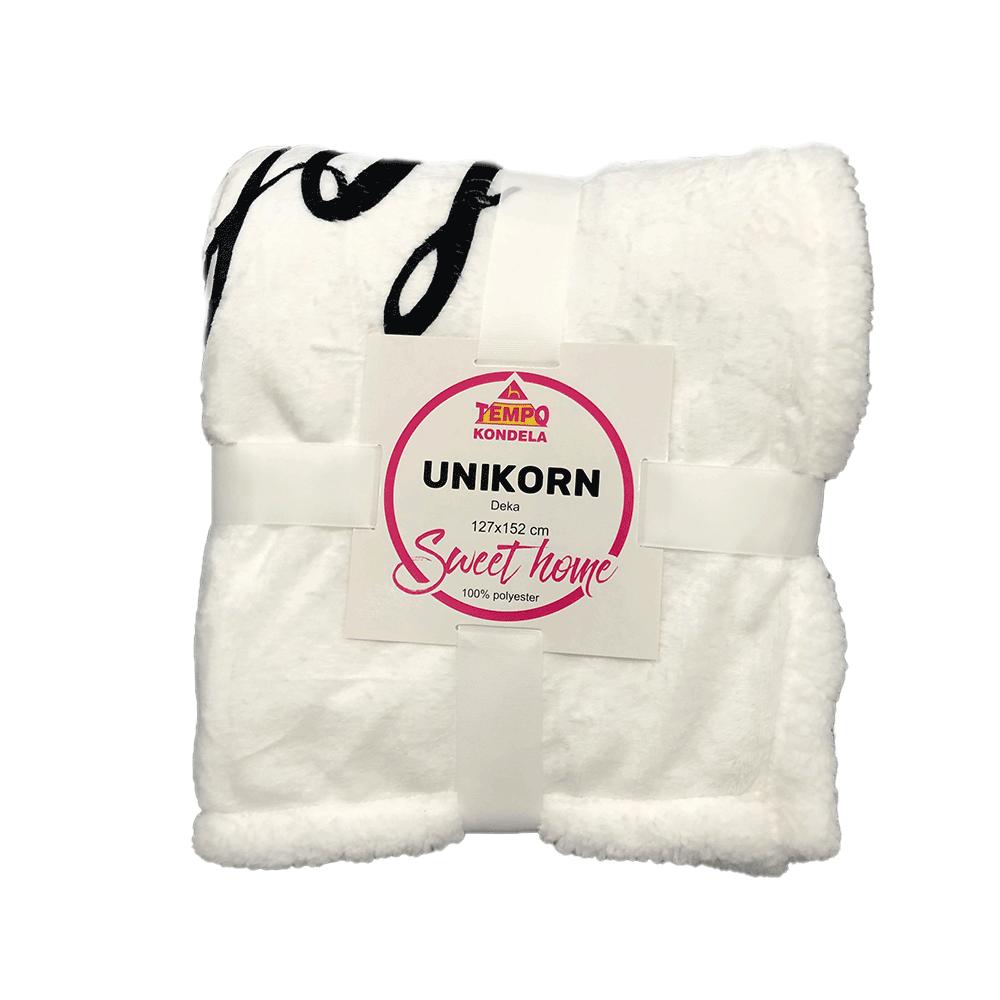 Kétoldalas bárány takaró, fehér/gyerek minta, unikornis, 127x152cm, UNIKORN