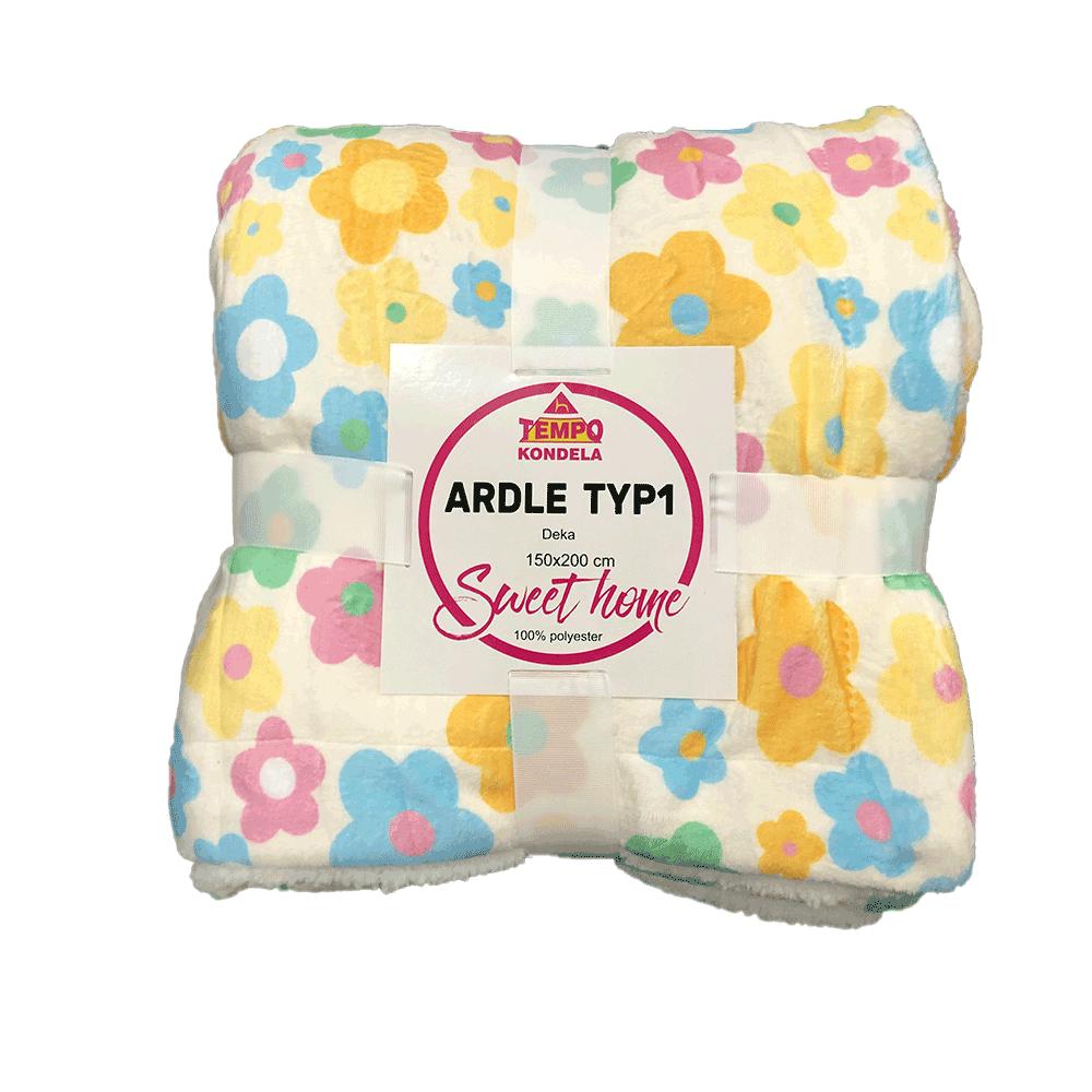 Pătură moale faţă-verso, model crem / floare, 150x200cm, ARDLE TYPE 1