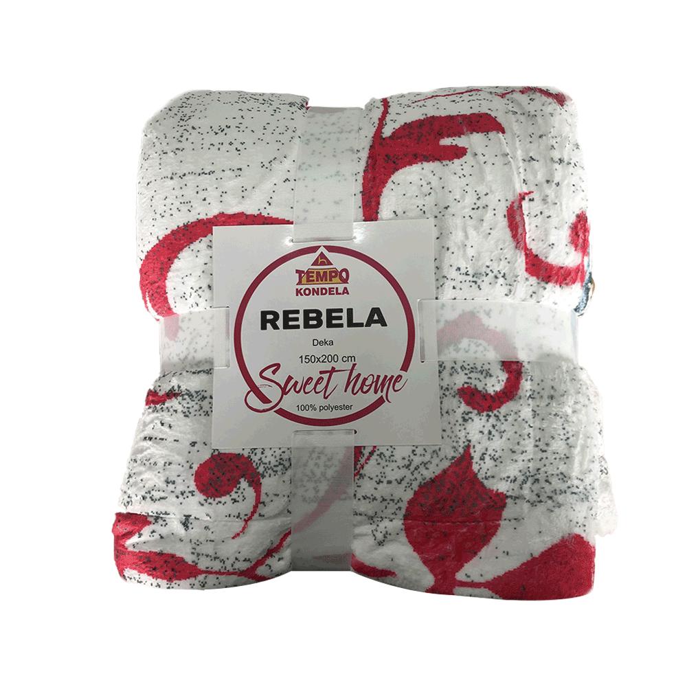 Pătură moale faţă-verso, crem / model, 150x200cm, REBELA