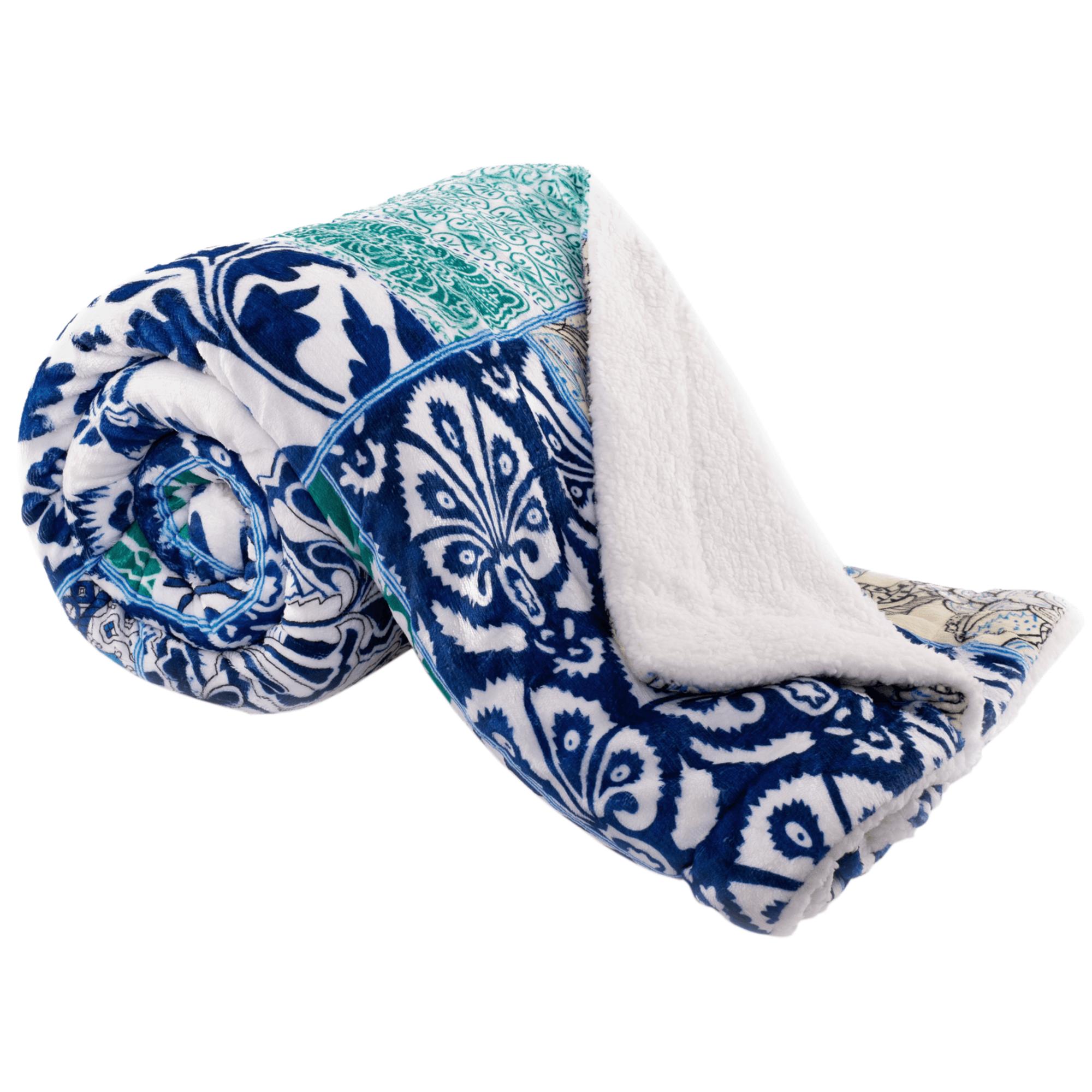 Obojstranná baránková deka, modrá/zelená/vzor, 150x200cm, VILNUS TYP1
