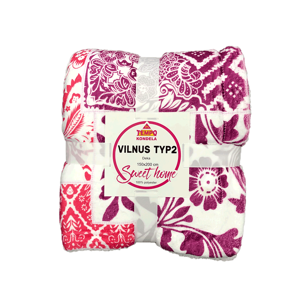 Pătură moale faţă-verso, violet / roşu / galben / model, 150x200cm, VILNUS TYPE 2
