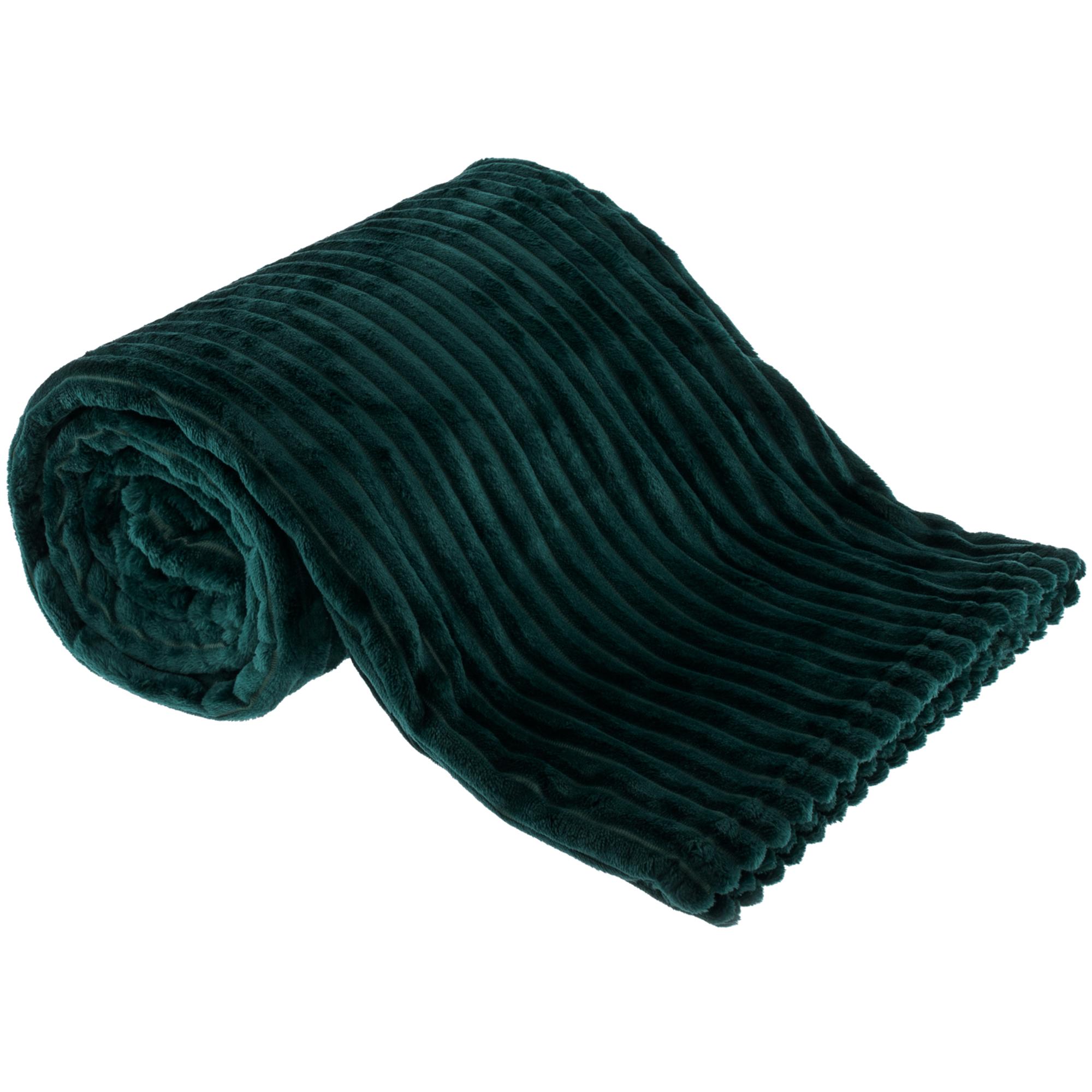 Plüss csíkos takaró, smaragd, 160x200cm, TELAL