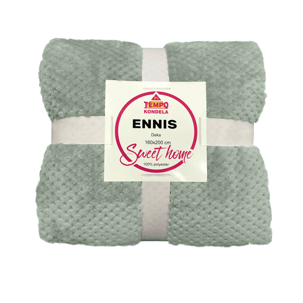 Pătură de pluş în carouri, neomint, 160x200cm, ENNIS
