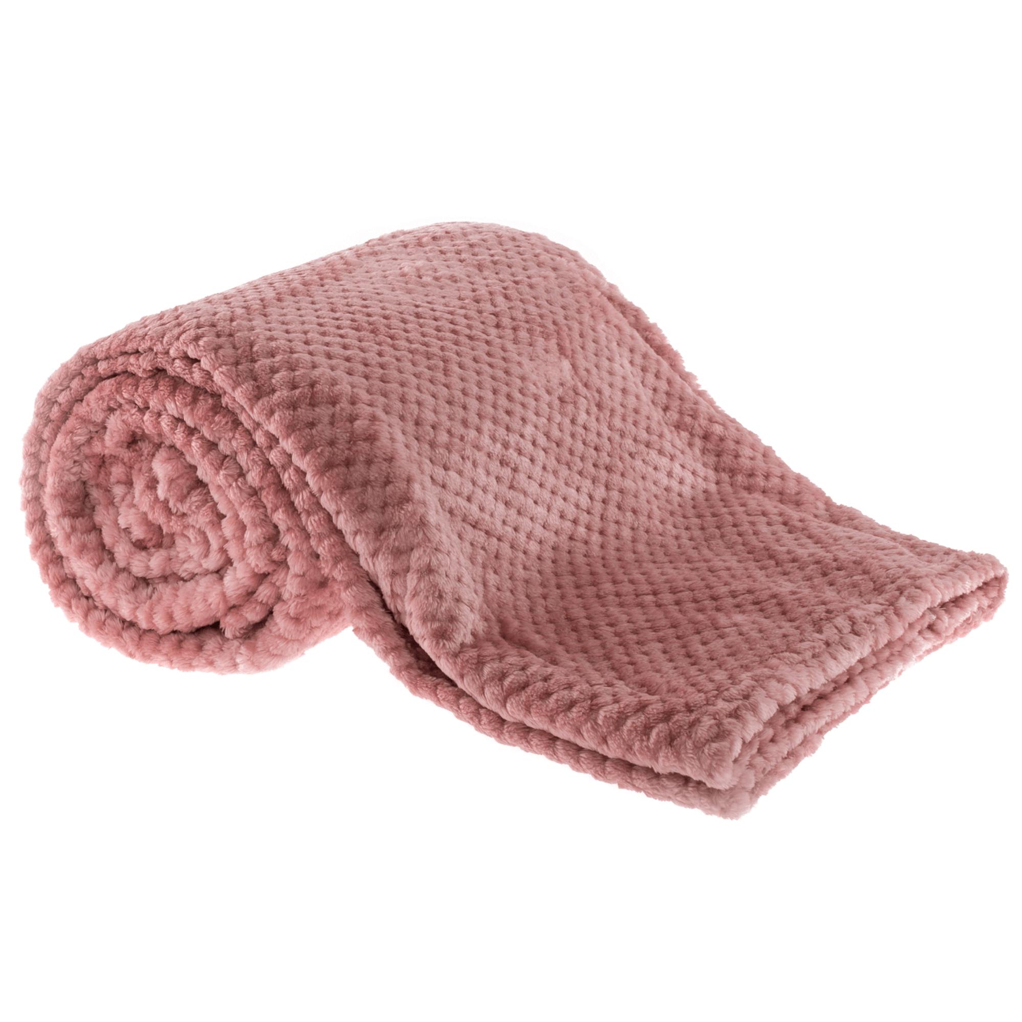 Plüss kockás takaró, rózsaszín, 160x200cm, ENNIS