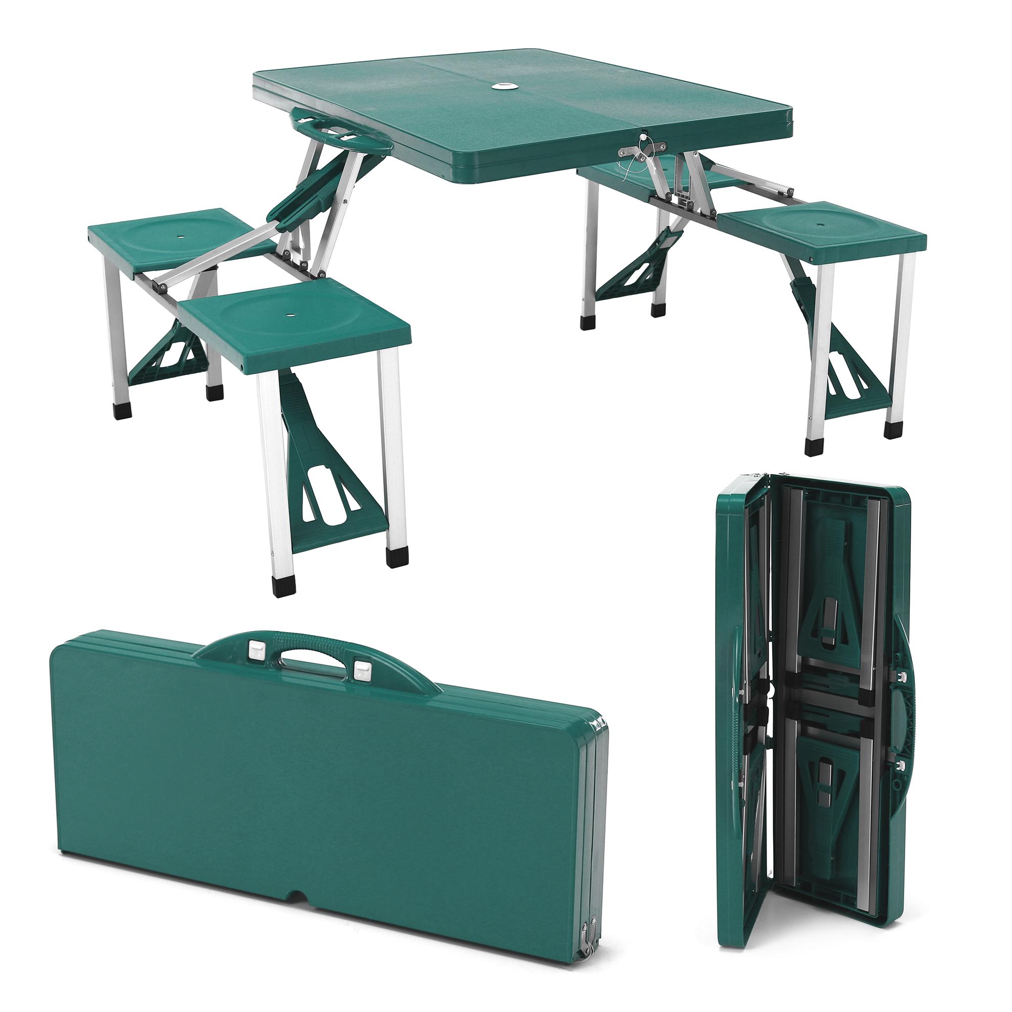 Hordozható összecsukható kemping szett, 4 személyes, zöld, HORT