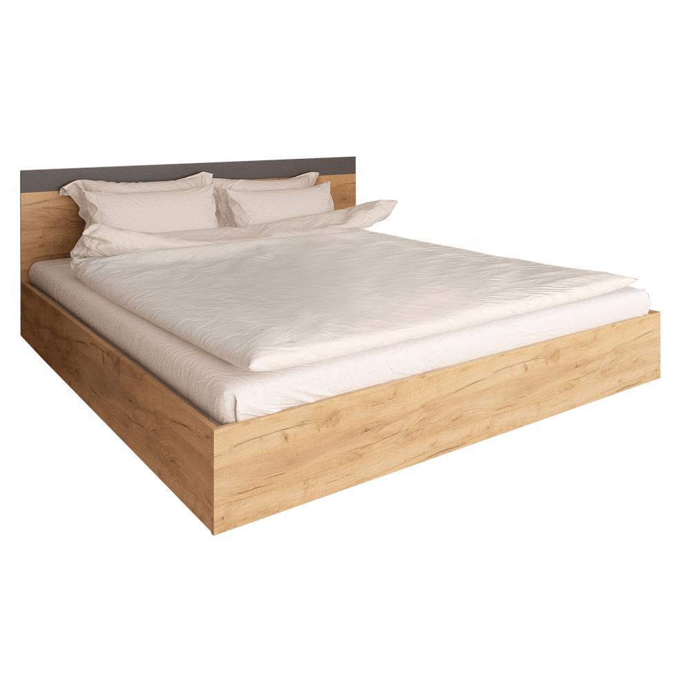 Dupla ágy, 160x200, tölgy artisan/grafit, GABRIELA