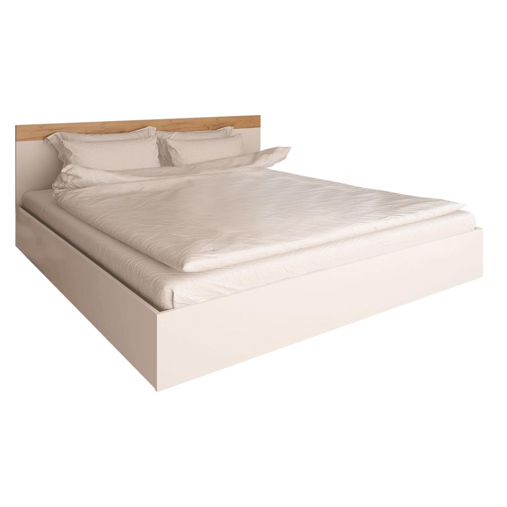 Dupla ágy, 160x200, féher/artisan tölgy, GABRIELA