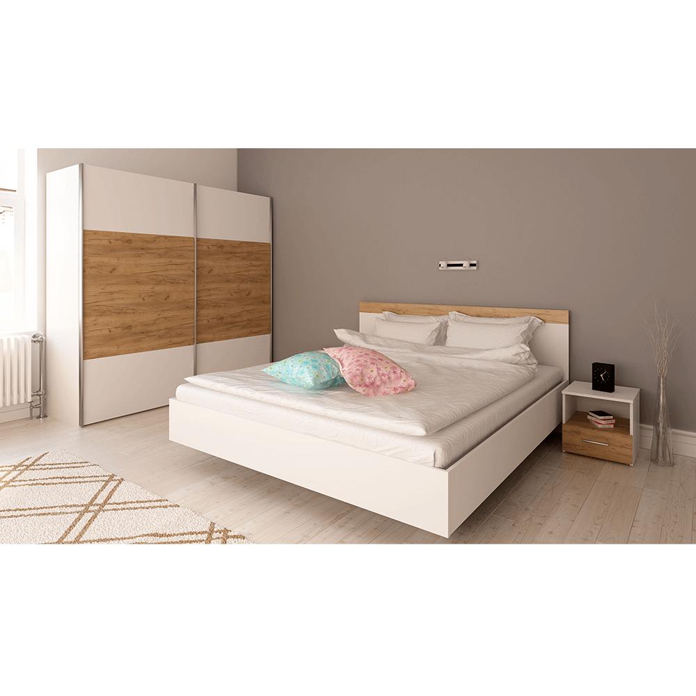 Set dormitor (Pat 160x200 cm), alb/stejar artisan, GABRIELA