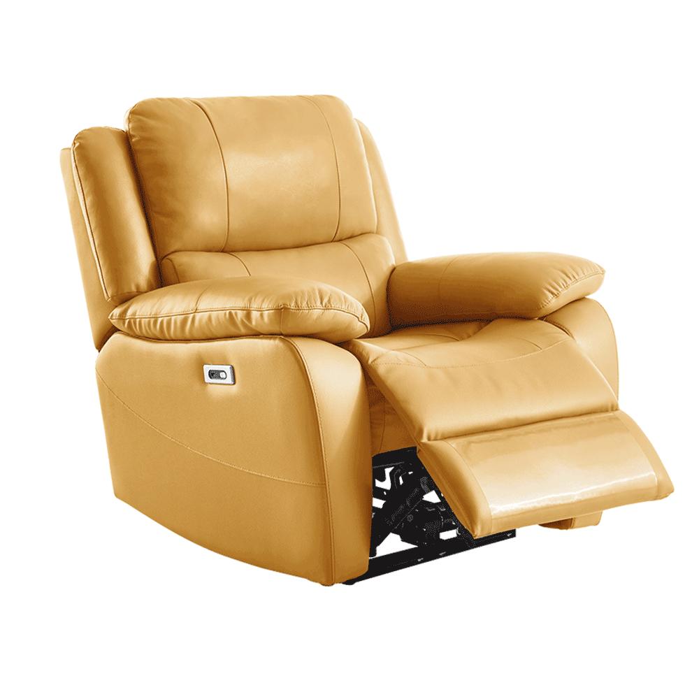 Elektromos relaxációs fotel, bőr/ekobőr sárga, VIVAN