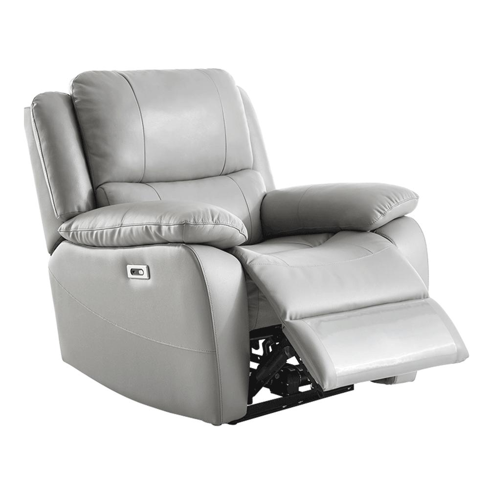 Elektromos relaxációs fotel, bőr/ekobőr szürke VIVAN