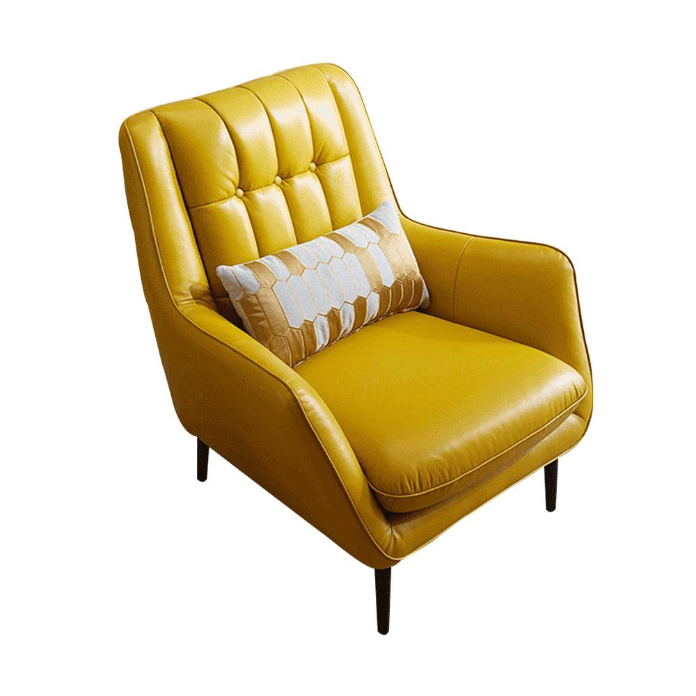 Dizájner fotel, bőr/ekobőr, sárga/fekete, LINSY