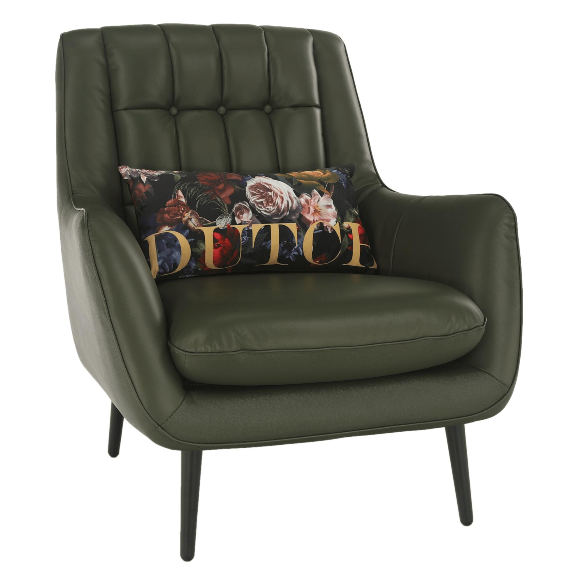Dizájner fotel, bőr/ekobőr, olivazöld/fekete, LINSY