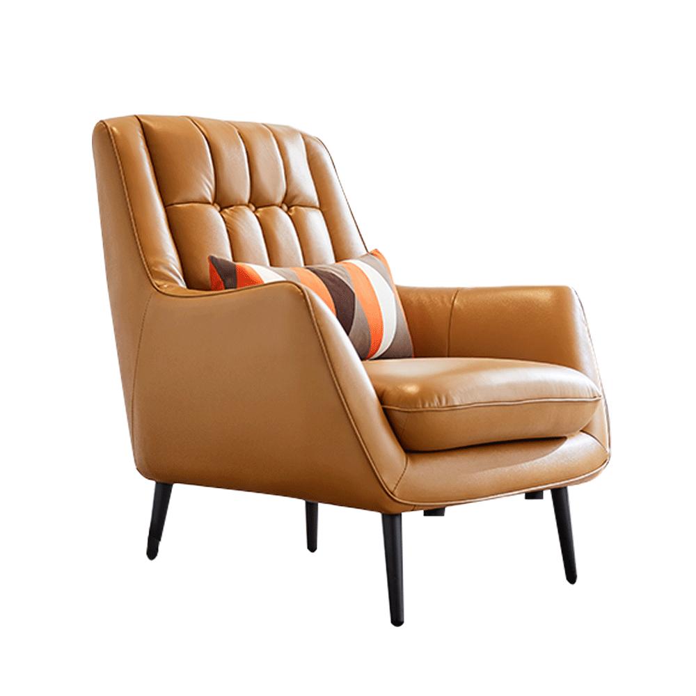 Dizájner fotel, bőr/ekobőr, aranybarna/fekete, LINSY