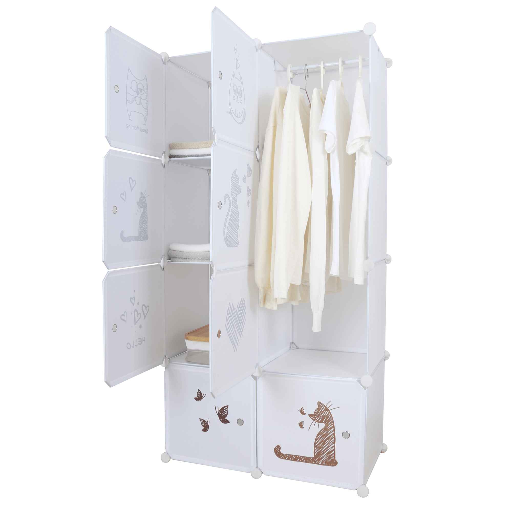 Dětská modulární skříň, bílá / hnědý vzor, KIRBY, TEMPO KONDELA