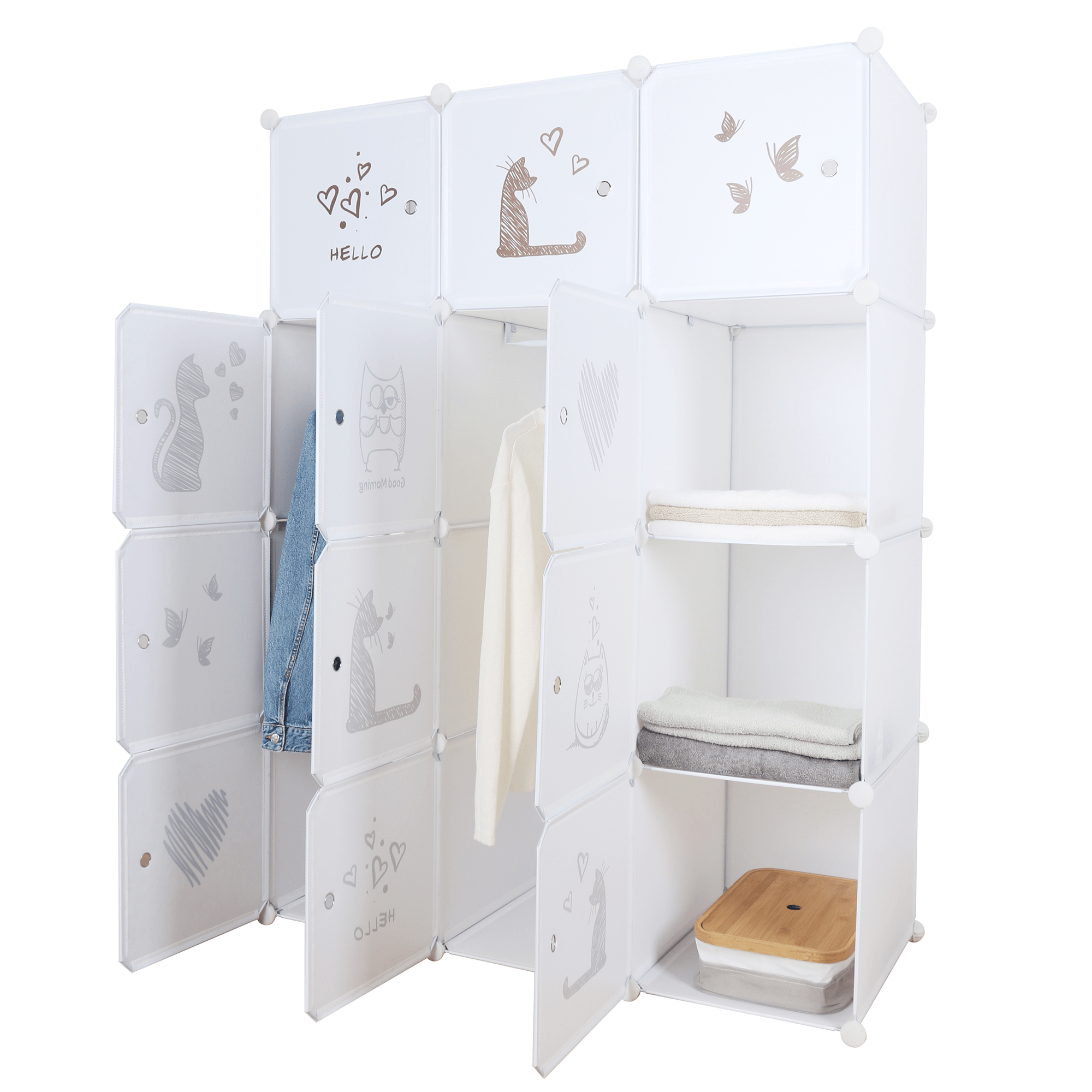Dětská modulární skříň, bílá / hnědý dětský vzor, Kitaro, TEMPO KONDELA