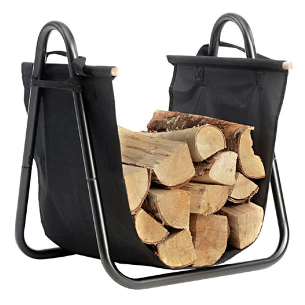 Coş pentru lemne, negru, fier forjat / ţesătură, SARAO