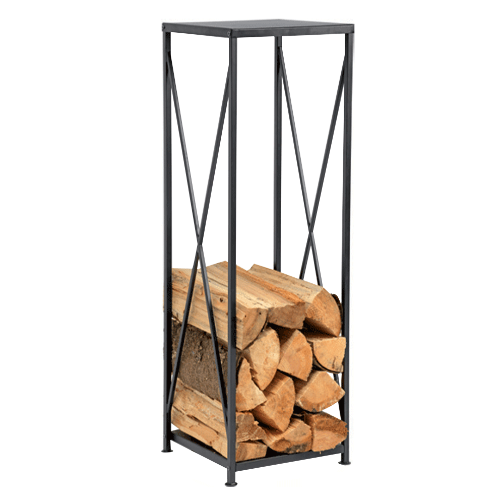 Stojan na drevo z kovaného železa, čierny, TURFI